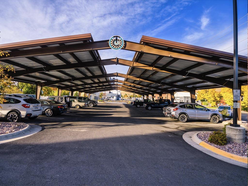 Toole Crossing Parking Structure with Custom Logo